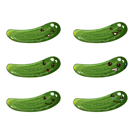 Cucumber. Cute vegetable vector character set isolated on white background