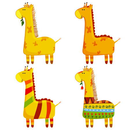 Cute Giraffe Vector Set. Collection In Different Poses. Funny Characters Set. Cartoon giraffe in children style.