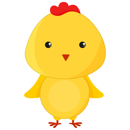 A cute cartoon chicken bird character illustration eps10
