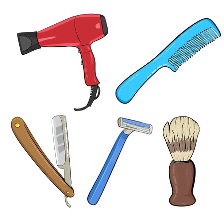 Barber icon set with hairdresser work tools and mens hairstyles isolated Illustration