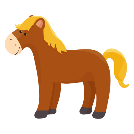 Well gromed brown horse with big eyes, cartoon vector illustration isolated on white background eps10 Standard-Bild - 114705855
