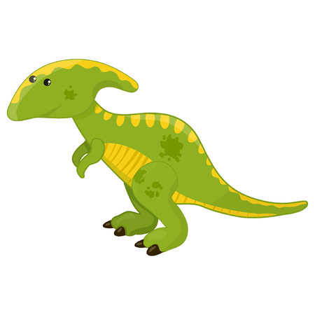Cute cartoon parasaurolophus dinosaur, prehistoric dino character vector Illustration on a white background eps10 Illustration