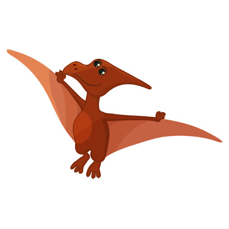 Vector illustration. Simple flat style icon of Pteranodon. Pictogram of pterosaur for print on t-shirt or design card eps10