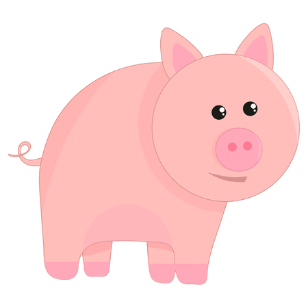 Cute pig cartoon vector illustration eps10 Illustration