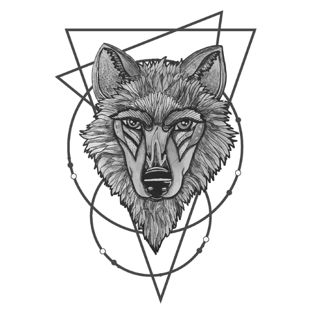 Vector illustration of a howling wolf, engraving. Print for T-shirts eps10