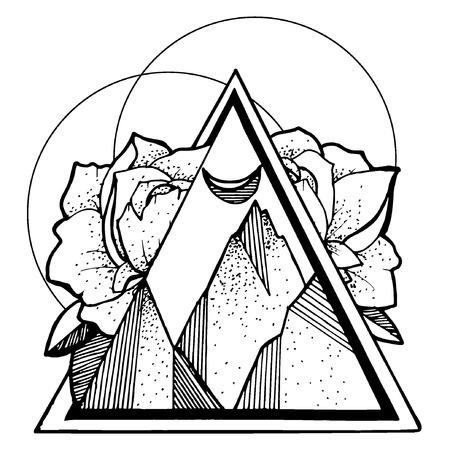 Creative illustration tatoo mountines eps10 Standard-Bild - 112376001