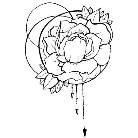 flower etching style vector eps10 Standard-Bild - 105778921