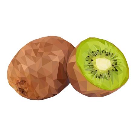 Kiwi. Vector illustration of exotic fruit in low poly style. Print design Standard-Bild - 122051116