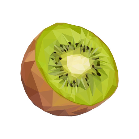 Kiwi. Vector illustration of exotic fruit in low poly style. Print design