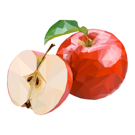 Red apple in low-poly style. Suitable for logo, background, websites, advertising, etc. Illustration