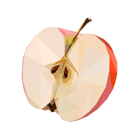 Red apple in low-poly style. Suitable for logo, background, websites, advertising, etc. Standard-Bild - 122051124