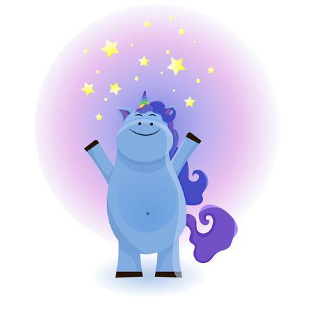 Cute magical unicorn. Vector design isolated on white background. Print for t-shirt or sticker. Romantic hand drawing illustration for children. eps10 Standard-Bild - 125482461
