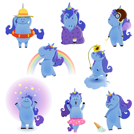 Vector illustration of cute unicorns set eps10 Illustration