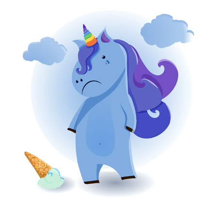 Cute cartoon. Unicorn illustration. animal image. Funny vector card eps10