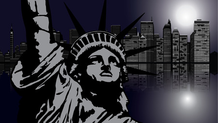 moon  metropolis: New York and Statue of Liberty in Night