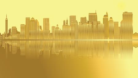 city: Golden City skyline New York vector Illustration