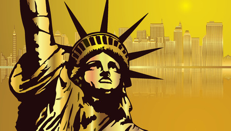Golden City New York and Golden Statue of Liberty Vector