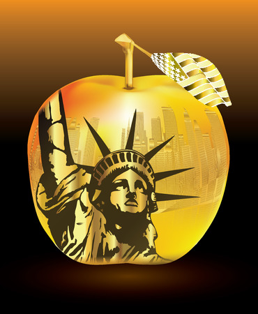 Gold apple-Big apple New York and statue Illustration