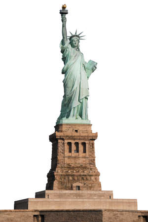 Statue of Liberty on Island in New York isolate on white background