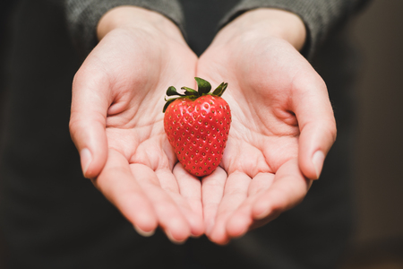 A fresh, beautiful and big strawberry is held by two hands that seem to be offering the fruit. The background is dark, the hands seem delicate.