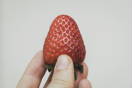A hand is holding a big, fresh, organic strawberry. It is pointing up.