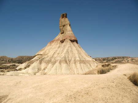 Castildetierra sandstone formation in arid Bardenas Reales de Navarra, a semi-desert natural region in Spain