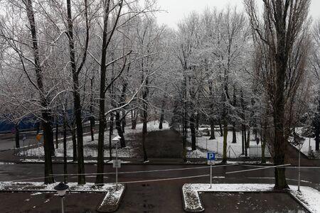 Parking lot in winter