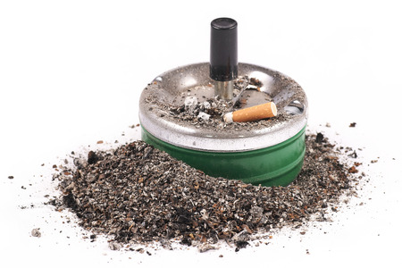 Ashtrays, butts and ashes on a white background