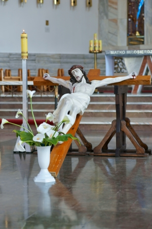 The figure of the crucified Christ inside the church, Easter, Poland photo