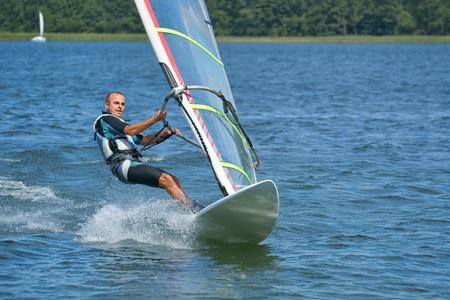 Windsurfing on the lake Niesłysz, Polish