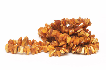 untreated: Amber necklace, natural and untreated Stock Photo