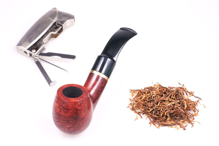 Pipe, tobacco, cigarette lighter photo