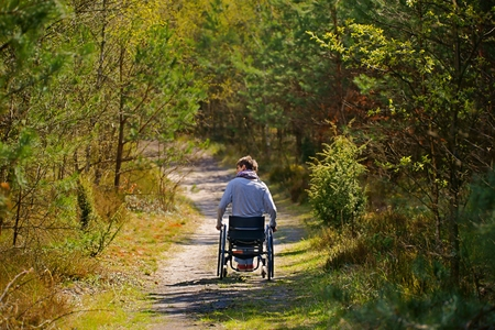 Disabled woman riding a wheelchair in the woods photo