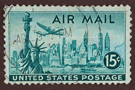 Postage Stamp New York Air Mail stamp. Airmail stamp from 1947 featuring the New York skyline and Statue of Liberty