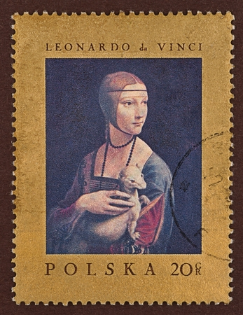 Postage stamp, a painting by Leonardo da Vinci, under the title Lady with an Ermine Editorial