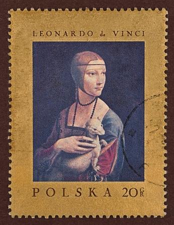 gronostaj: Znaczek pocztowy, obraz Leonarda da Vinci, pod tytułem Damy z gronostajem Publikacyjne