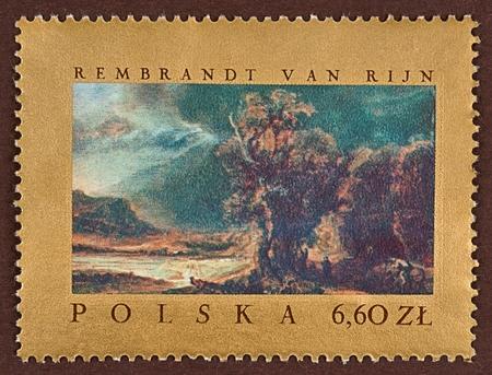 rembrandt: Postage stamp Rembrandt van Rijn landscape