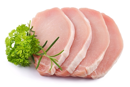 Meat pork parsley rosemary pork loin slices on a white background