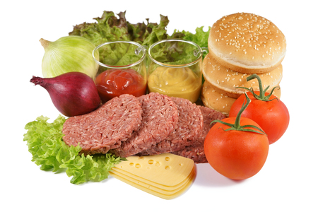 Hamburger, minced beef and the rest of the ingredients, on a white background Фото со стока