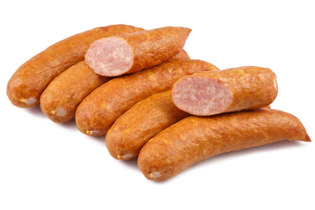 Sausage, jess cold meats isolated on white background