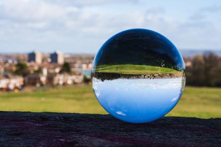 landscape of Swindon in sphere, upside down