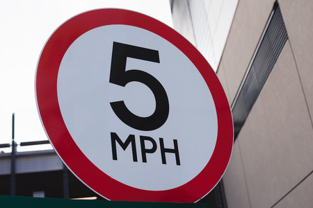 Speed 5 mph sign. Five miles per hour traffic sign. Stock Photo