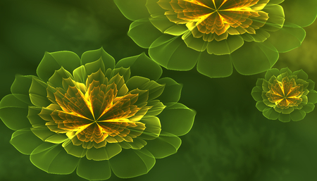 Illustration With Green And Yellow Gradient Flowers made from Fractals Фото со стока