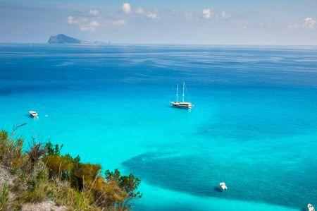 Turqoise Water on Lipary Island Shores , Aeolian Islands , Sicily, Italy