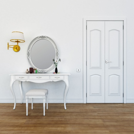 dressing table with make-up colors