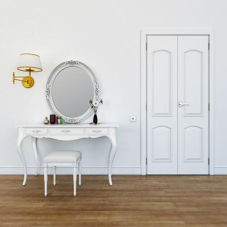 spiegels: kaptafel met make-up kleuren