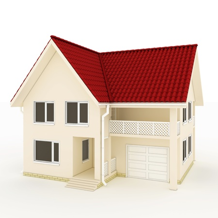 two-story house with red roof, balcony and garage Stock Photo