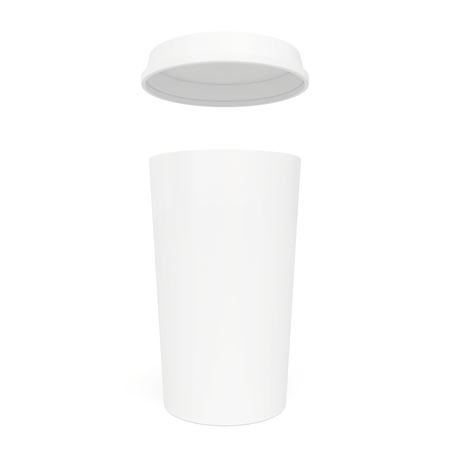 White paper cup with a lid on top Stock Photo