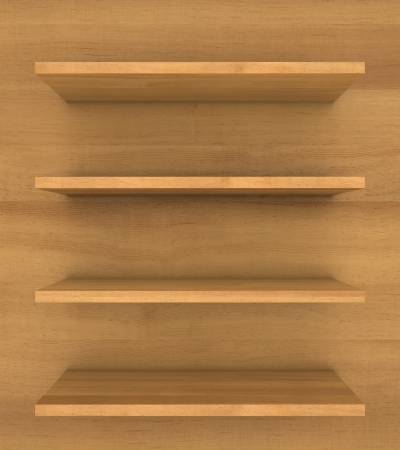 empty wooden bookshelf Stock Photo