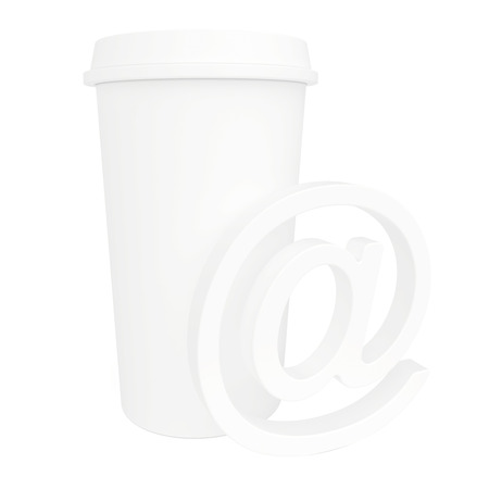 A cup of coffee and a е-mail Stock Photo